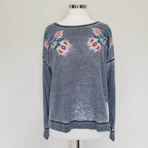Lucky Brand Grey Long Sleeve Distressed Floral Top